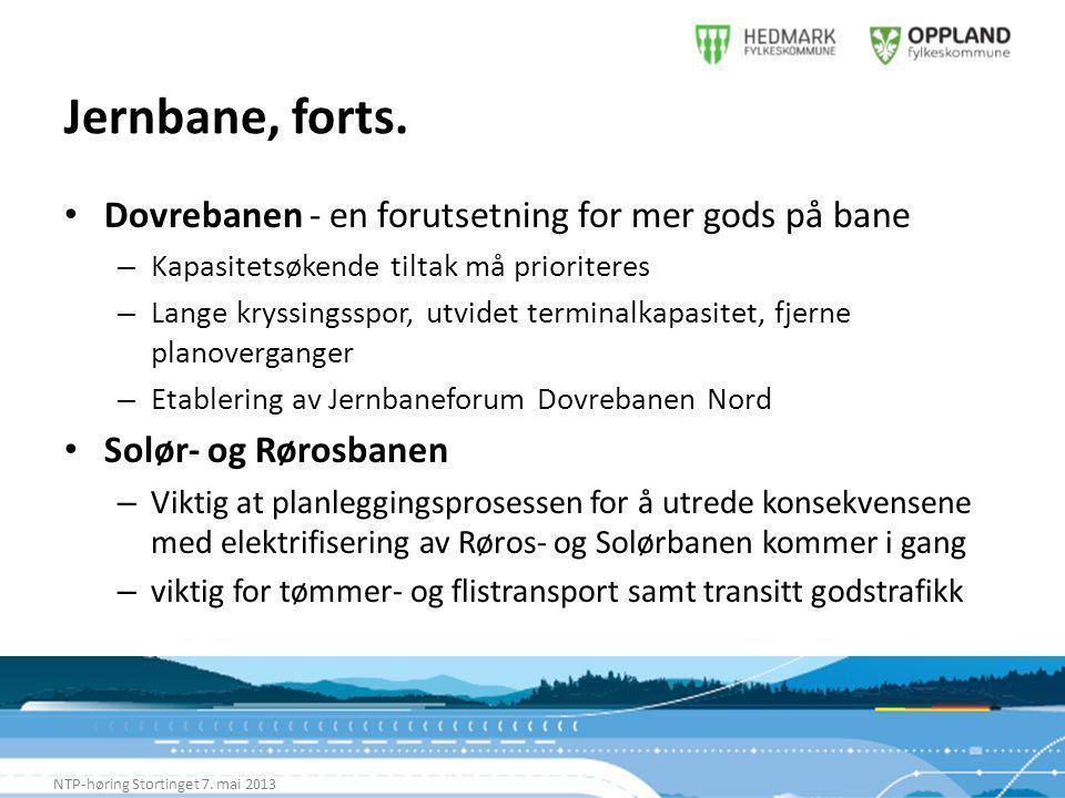 Jernbane, forts. NTP-høring Stortinget 7.