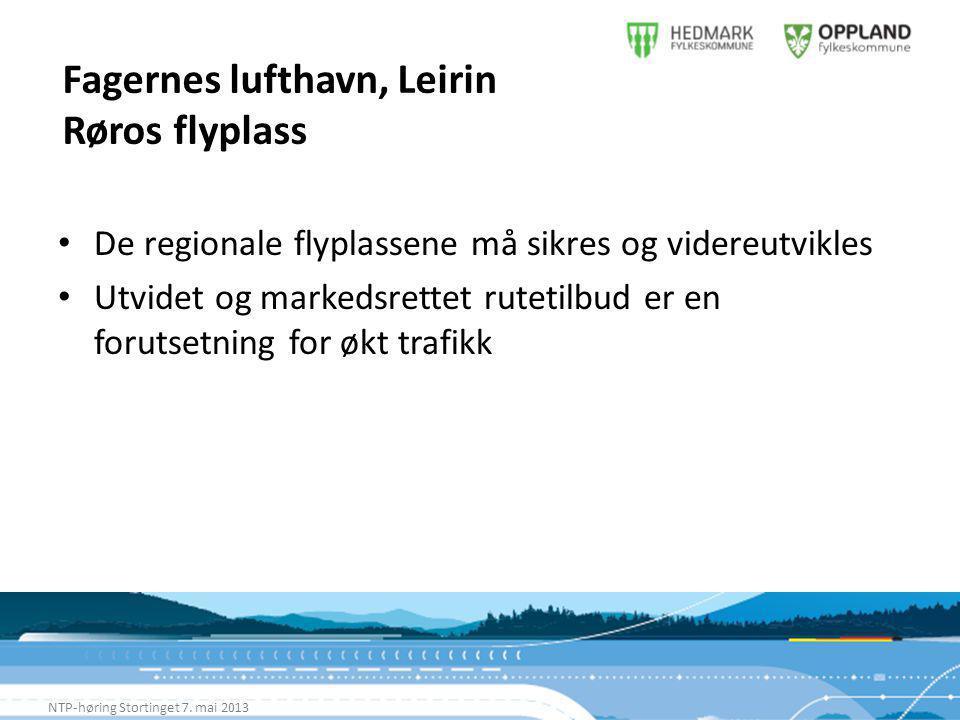 Fagernes lufthavn, Leirin Røros flyplass NTP-høring Stortinget 7.