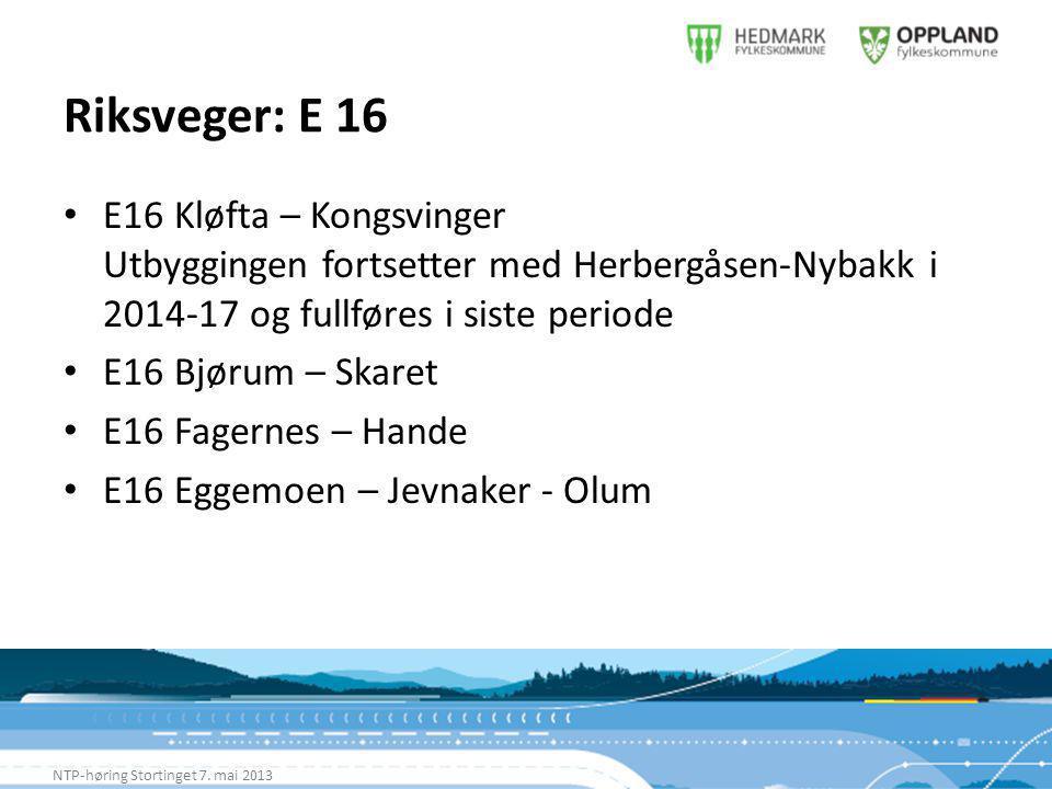 Riksveger: E 16 NTP-høring Stortinget 7.