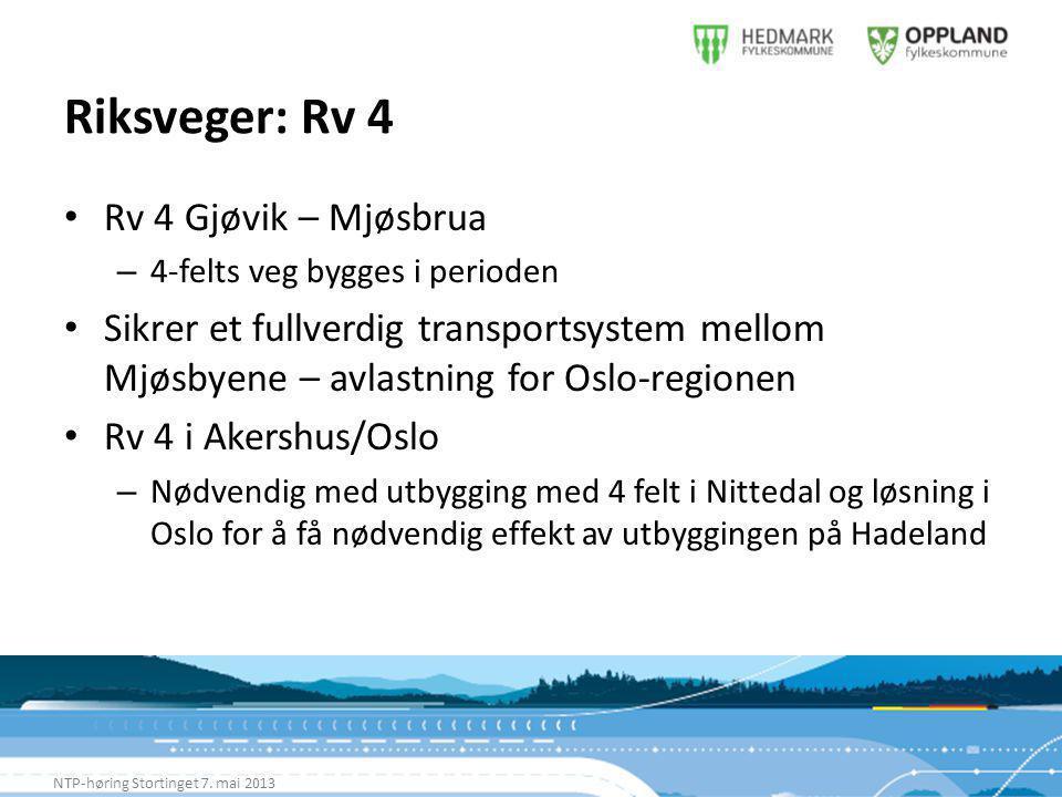 Riksveger: Rv 4 NTP-høring Stortinget 7.