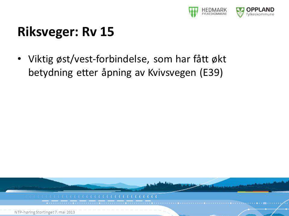 Riksveger: Rv 15 NTP-høring Stortinget 7.