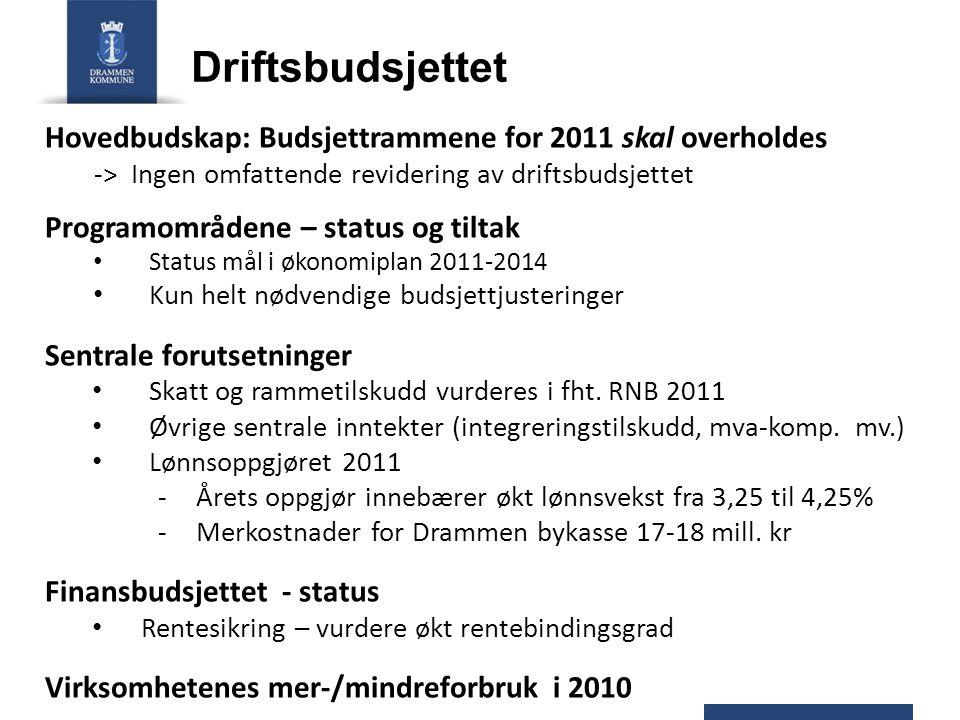 Driftsbudsjettet Hovedbudskap: Budsjettrammene for 2011 skal overholdes -> Ingen omfattende revidering av driftsbudsjettet Programområdene – status og
