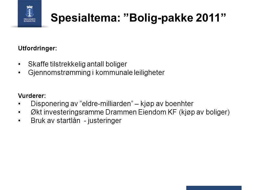"""Spesialtema: """"Bolig-pakke 2011"""" Utfordringer: Skaffe tilstrekkelig antall boliger Gjennomstrømming i kommunale leiligheter Vurderer: Disponering av """"e"""