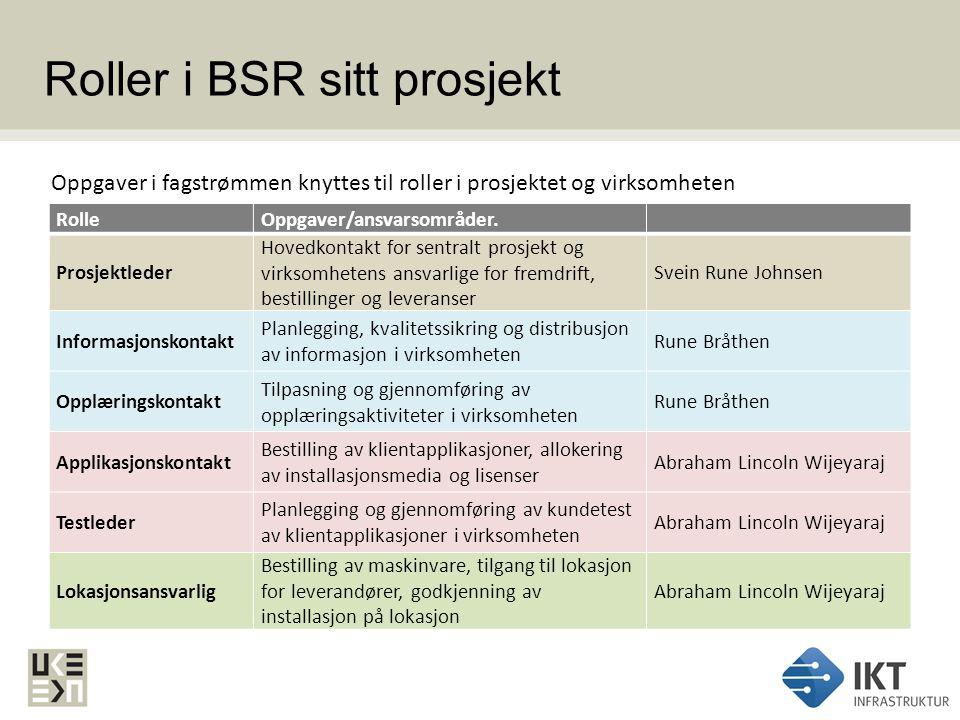 Roller i BSR sitt prosjekt RolleOppgaver/ansvarsområder. Prosjektleder Hovedkontakt for sentralt prosjekt og virksomhetens ansvarlige for fremdrift, b