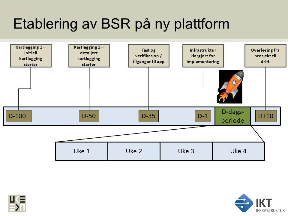 Etablering av BSR på ny plattform D-100 Kartlegging 1 – initiell kartlegging starter D-50 Kartlegging 2 – detaljert kartlegging starter D-35 Test og v