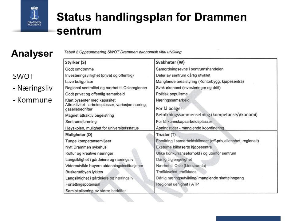 Analyser SWOT - Næringsliv - Kommune Status handlingsplan for Drammen sentrum