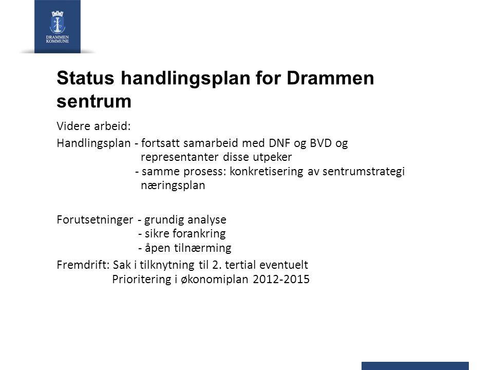 Status handlingsplan for Drammen sentrum Videre arbeid: Handlingsplan - fortsatt samarbeid med DNF og BVD og representanter disse utpeker - samme pros