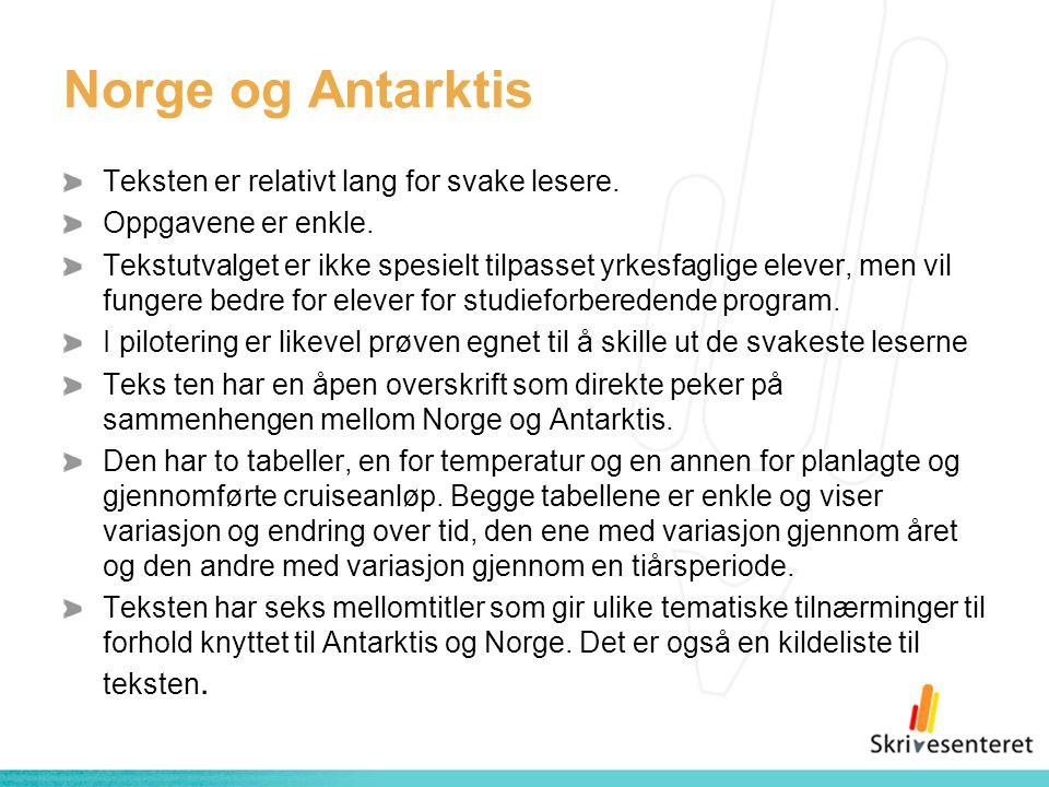 Norge og Antarktis Teksten er relativt lang for svake lesere. Oppgavene er enkle. Tekstutvalget er ikke spesielt tilpasset yrkesfaglige elever, men vi
