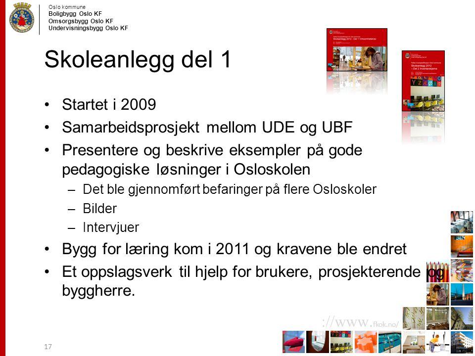 Oslo kommune Boligbygg Oslo KF Omsorgsbygg Oslo KF Undervisningsbygg Oslo KF ://www. fkok.no/ Skoleanlegg del 1 Startet i 2009 Samarbeidsprosjekt mell