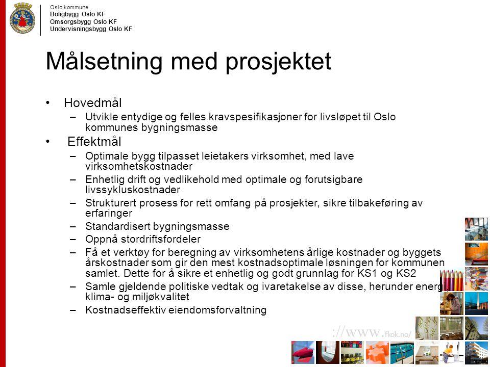 Oslo kommune Boligbygg Oslo KF Omsorgsbygg Oslo KF Undervisningsbygg Oslo KF ://www. fkok.no/ Målsetning med prosjektet Hovedmål –Utvikle entydige og