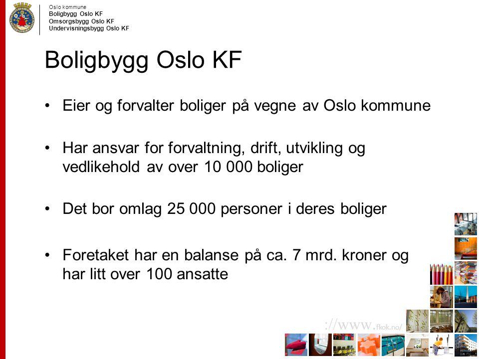 Oslo kommune Boligbygg Oslo KF Omsorgsbygg Oslo KF Undervisningsbygg Oslo KF ://www. fkok.no/ Boligbygg Oslo KF Eier og forvalter boliger på vegne av