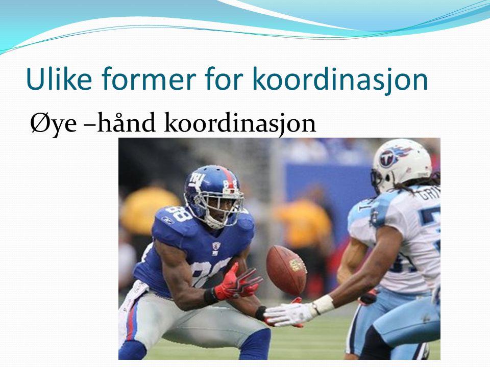 Ulike former for koordinasjon Øye –hånd koordinasjon