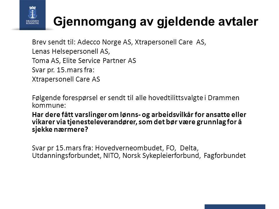 Gjennomgang av gjeldende avtaler Brev sendt til: Adecco Norge AS, Xtrapersonell Care AS, Lenas Helsepersonell AS, Toma AS, Elite Service Partner AS Svar pr.