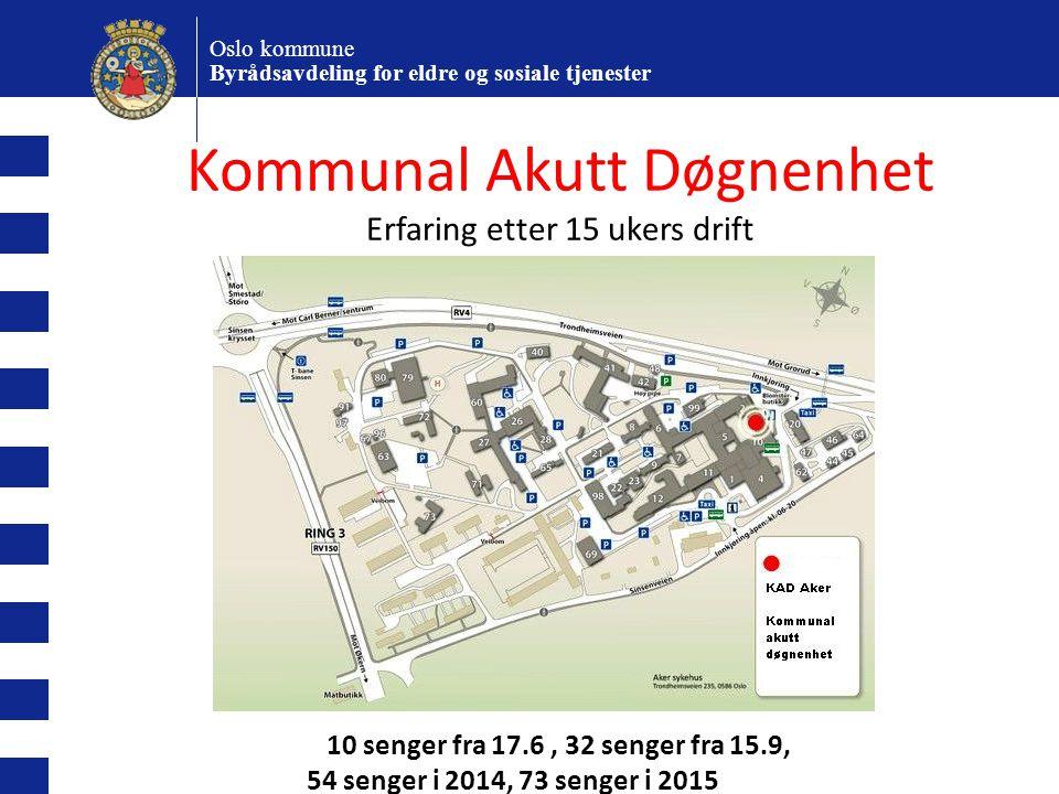 10 senger fra 17.6, 32 senger fra 15.9, 54 senger i 2014, 73 senger i 2015 Oslo kommune Byrådsavdeling for eldre og sosiale tjenester Kommunal Akutt D