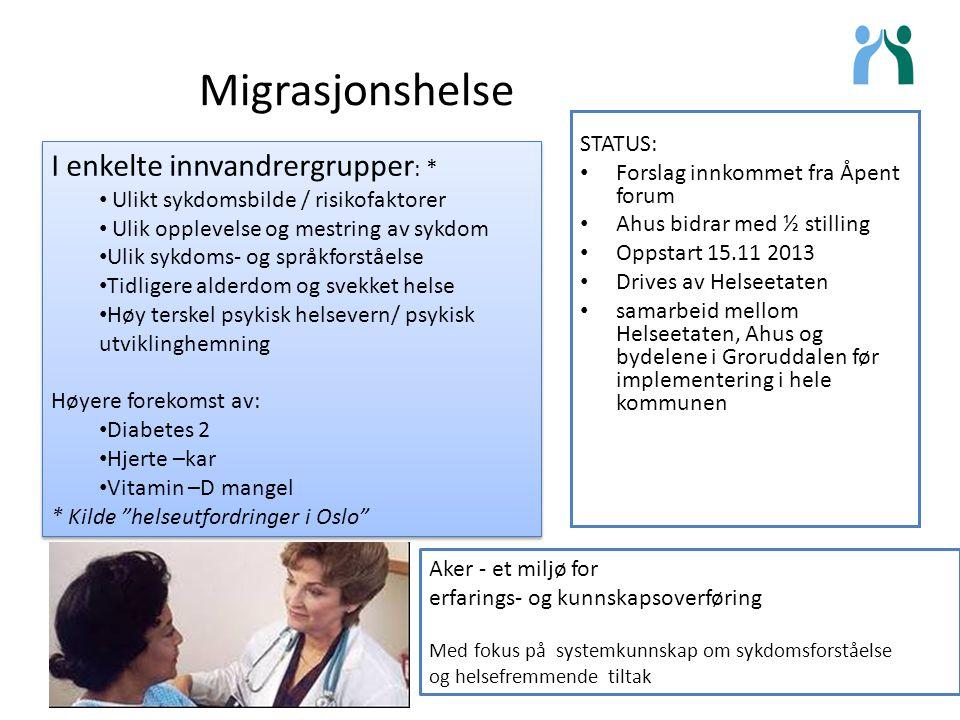 Migrasjonshelse STATUS: Forslag innkommet fra Åpent forum Ahus bidrar med ½ stilling Oppstart 15.11 2013 Drives av Helseetaten samarbeid mellom Helsee