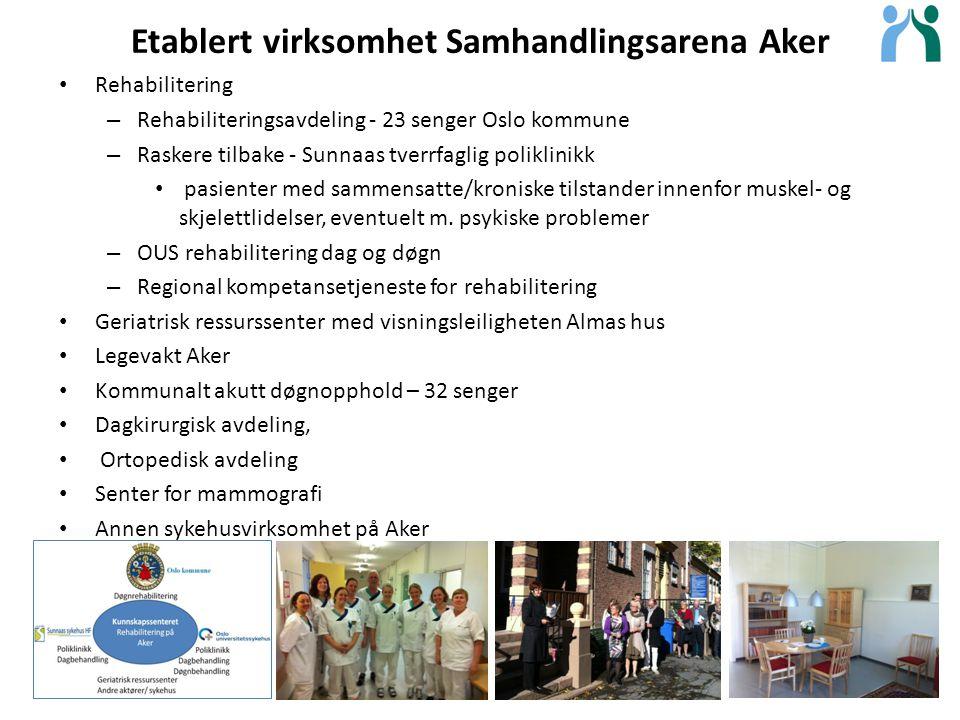 Etablert virksomhet Samhandlingsarena Aker Rehabilitering – Rehabiliteringsavdeling - 23 senger Oslo kommune – Raskere tilbake - Sunnaas tverrfaglig p
