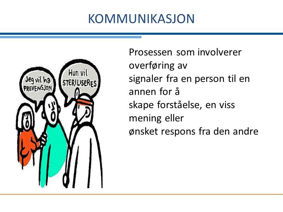 KOMMUNIKASJON Prosessen som involverer overføring av signaler fra en person til en annen for å skape forståelse, en viss mening eller ønsket respons f