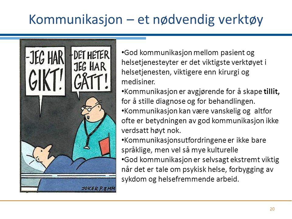 Kommunikasjon – et nødvendig verktøy 20 God kommunikasjon mellom pasient og helsetjenesteyter er det viktigste verktøyet i helsetjenesten, viktigere e