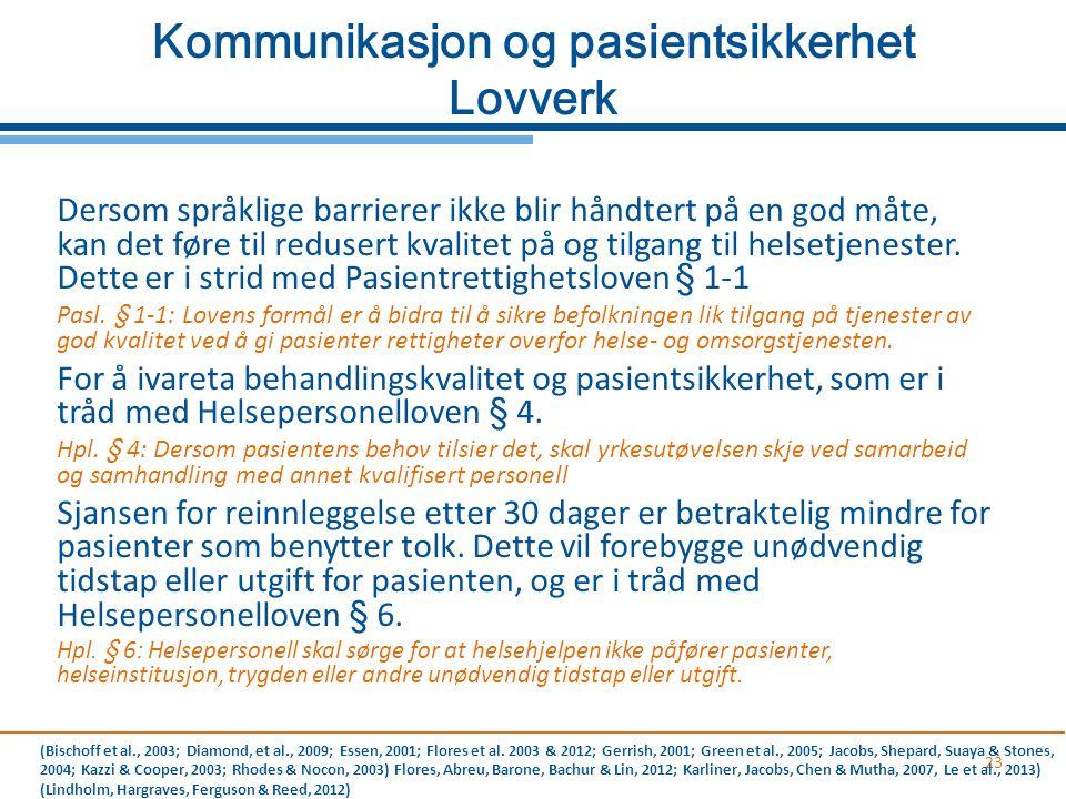 Kommunikasjon og pasientsikkerhet Lovverk 23 Dersom språklige barrierer ikke blir håndtert på en god måte, kan det føre til redusert kvalitet på og ti