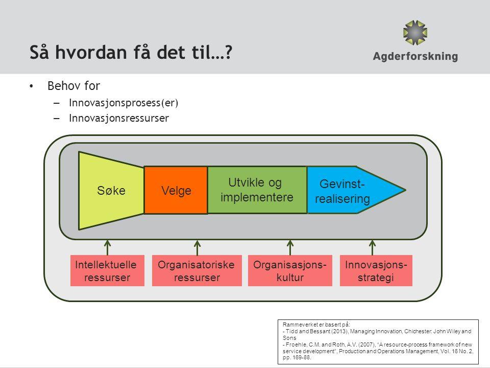 Så hvordan få det til…? SøkeVelge Utvikle og implementere Gevinst- realisering Behov for – Innovasjonsprosess(er) – Innovasjonsressurser Intellektuell