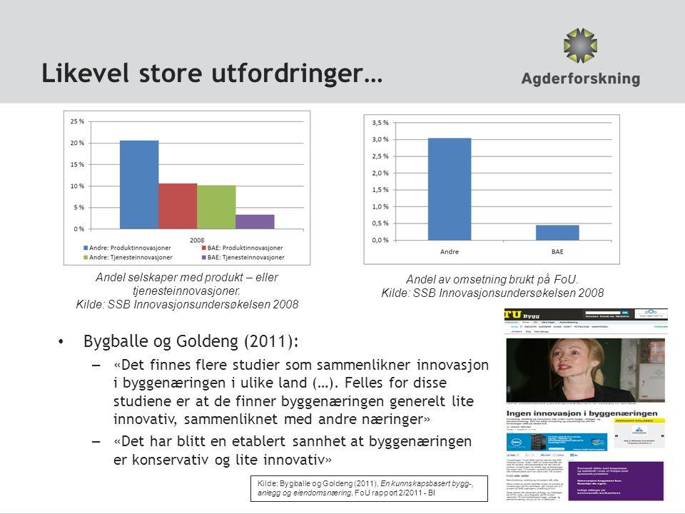 Likevel store utfordringer… Bygballe og Goldeng (2011): – «Det finnes flere studier som sammenlikner innovasjon i byggenæringen i ulike land (…). Fell