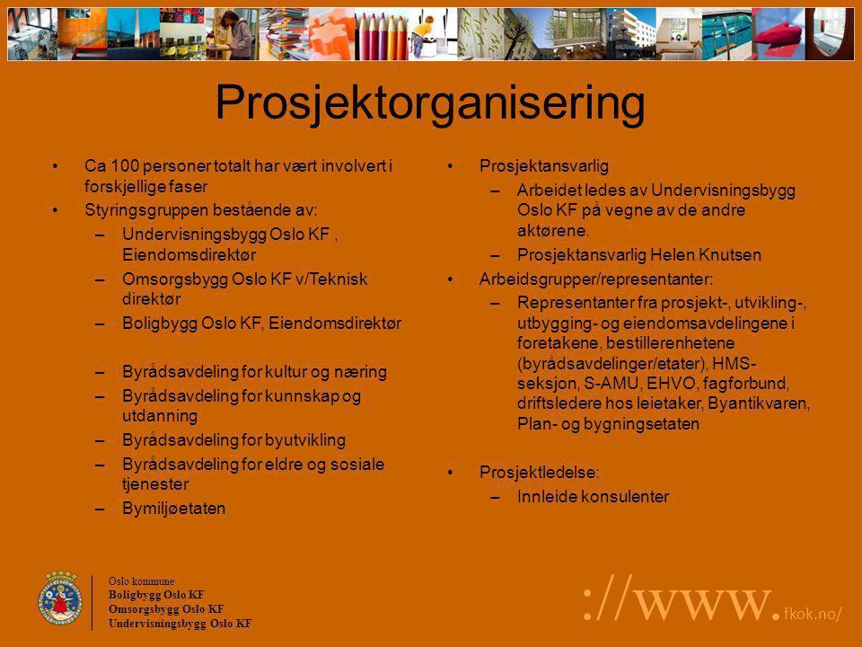Oslo kommune Boligbygg Oslo KF Omsorgsbygg Oslo KF Undervisningsbygg Oslo KF ://www. fkok.no/ Ca 100 personer totalt har vært involvert i forskjellige