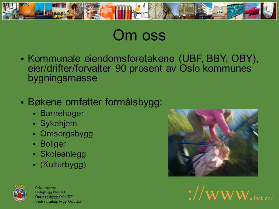 Oslo kommune Boligbygg Oslo KF Omsorgsbygg Oslo KF Undervisningsbygg Oslo KF ://www. fkok.no/ Om oss Kommunale eiendomsforetakene (UBF, BBY, OBY), eie