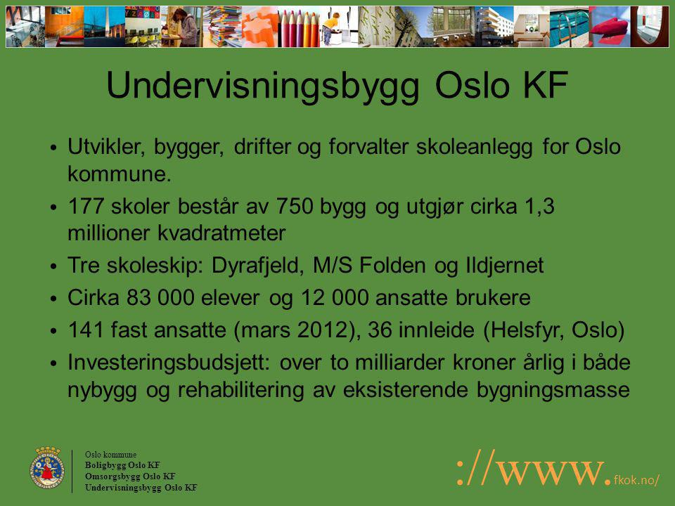 Oslo kommune Boligbygg Oslo KF Omsorgsbygg Oslo KF Undervisningsbygg Oslo KF ://www. fkok.no/ Undervisningsbygg Oslo KF Utvikler, bygger, drifter og f