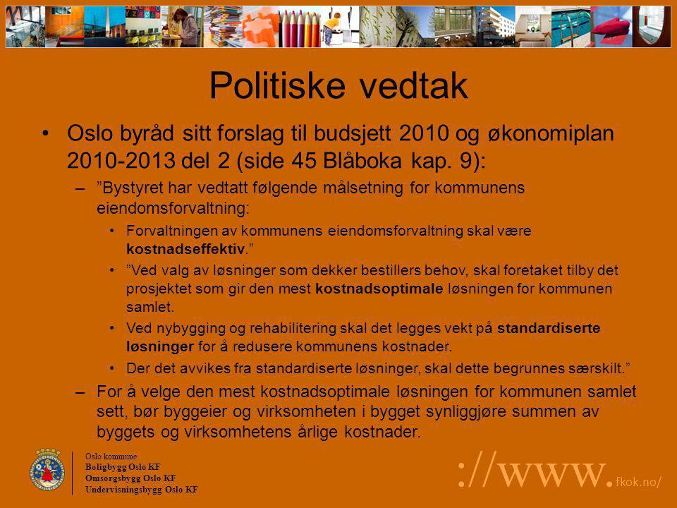 Oslo kommune Boligbygg Oslo KF Omsorgsbygg Oslo KF Undervisningsbygg Oslo KF ://www. fkok.no/ Politiske vedtak Oslo byråd sitt forslag til budsjett 20