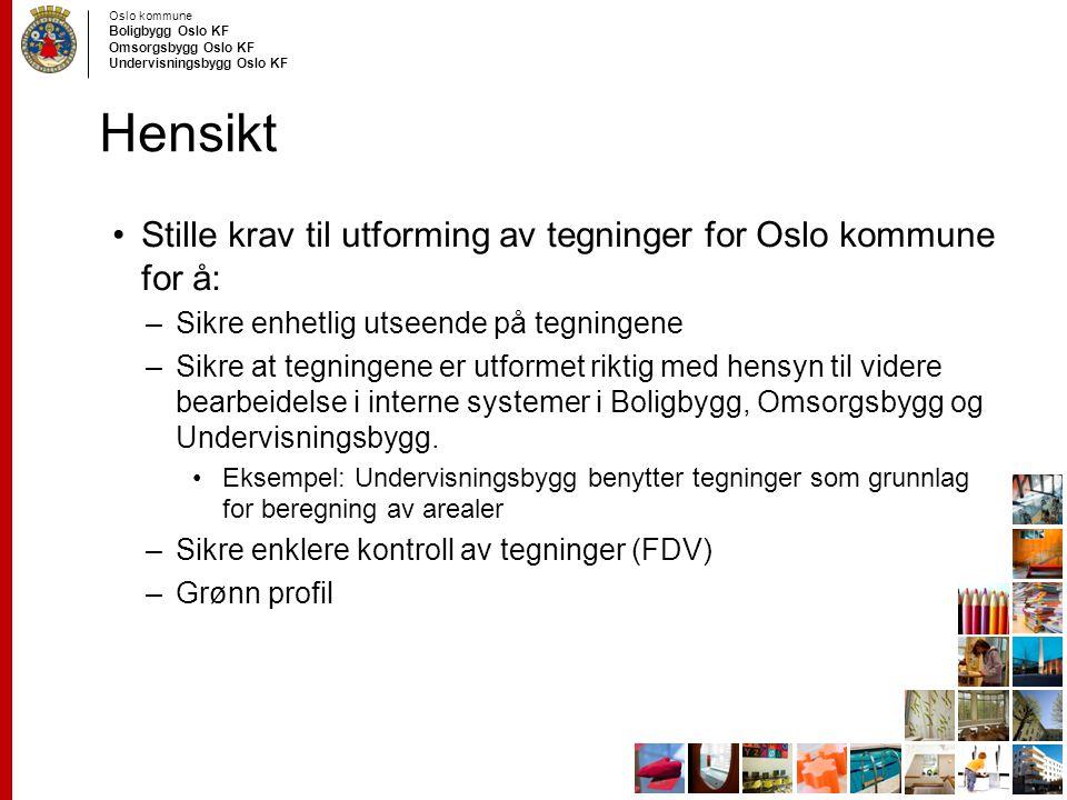 Oslo kommune Boligbygg Oslo KF Omsorgsbygg Oslo KF Undervisningsbygg Oslo KF Hensikt Stille krav til utforming av tegninger for Oslo kommune for å: –S