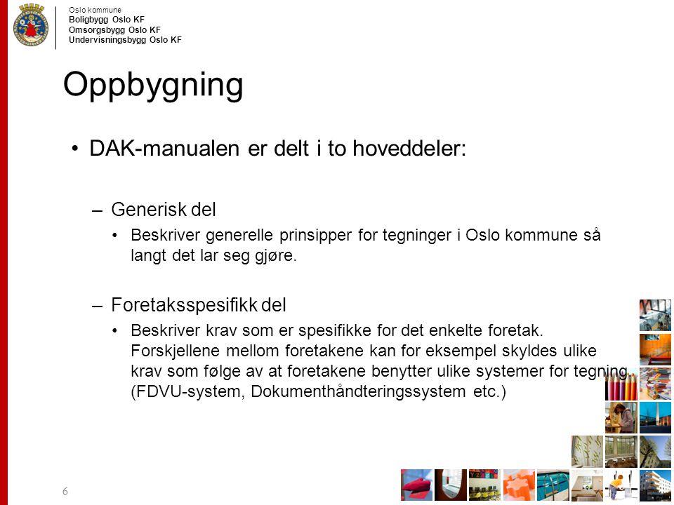 Oslo kommune Boligbygg Oslo KF Omsorgsbygg Oslo KF Undervisningsbygg Oslo KF Innhold DAK manualen Tegnetekniske krav –Generelle krav til blant annet snitt og fasader, målsetting, skravering osv.