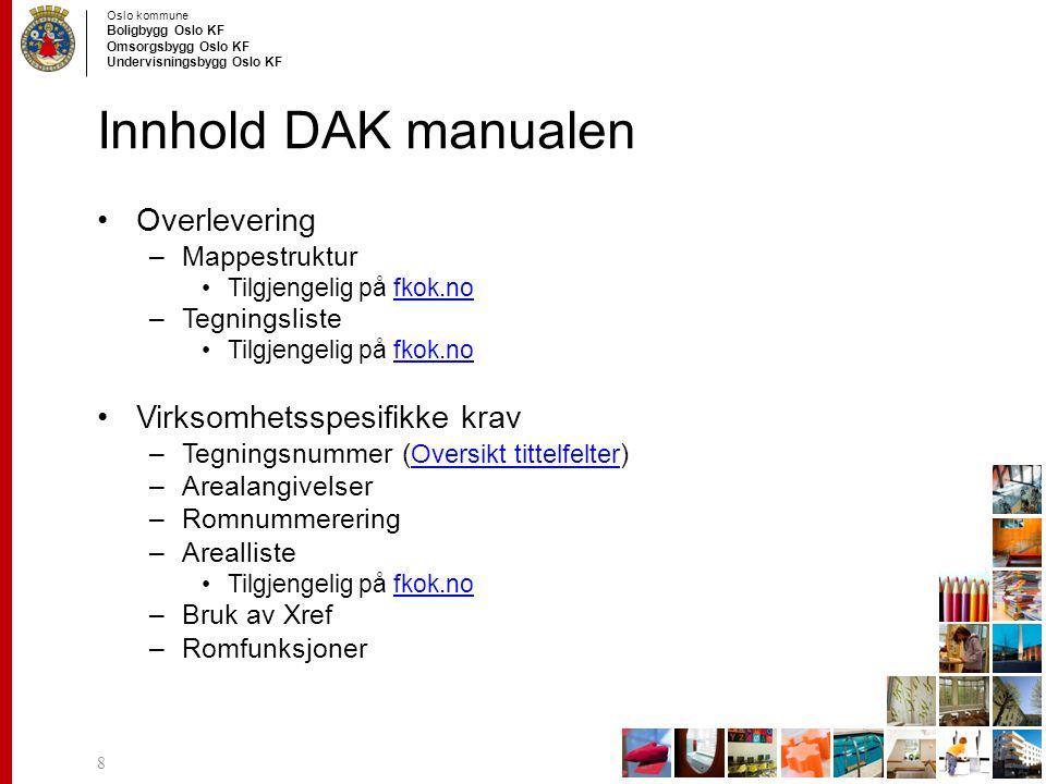 Oslo kommune Boligbygg Oslo KF Omsorgsbygg Oslo KF Undervisningsbygg Oslo KF Innhold DAK manualen Overlevering –Mappestruktur Tilgjengelig på fkok.nof