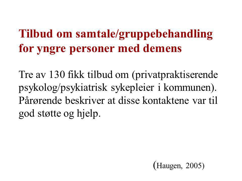 Tilbud om samtale/gruppebehandling for yngre personer med demens Tre av 130 fikk tilbud om (privatpraktiserende psykolog/psykiatrisk sykepleier i komm