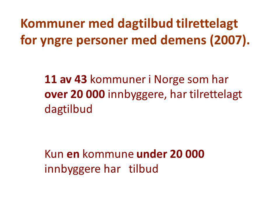 Kommuner med dagtilbud tilrettelagt for yngre personer med demens (2007). 11 av 43 kommuner i Norge som har over 20 000 innbyggere, har tilrettelagt d