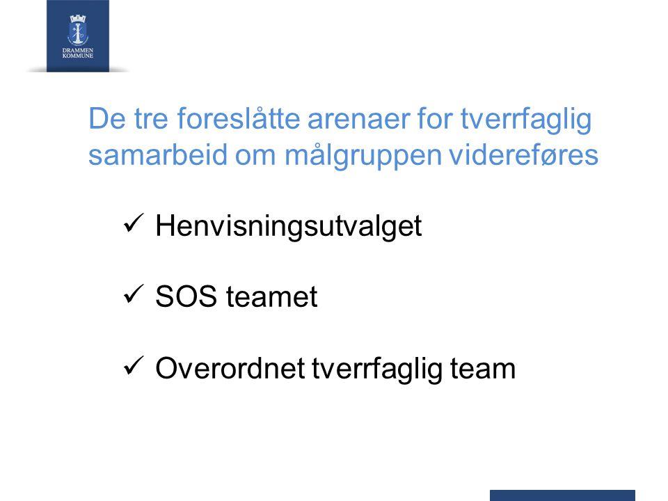 De tre foreslåtte arenaer for tverrfaglig samarbeid om målgruppen videreføres Henvisningsutvalget SOS teamet Overordnet tverrfaglig team