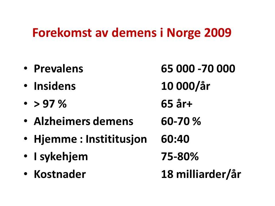 Forekomst av demens i Norge 2009 Prevalens65 000 -70 000 Insidens 10 000/år > 97 %65 år+ Alzheimers demens60-70 % Hjemme : Instititusjon60:40 I sykehj