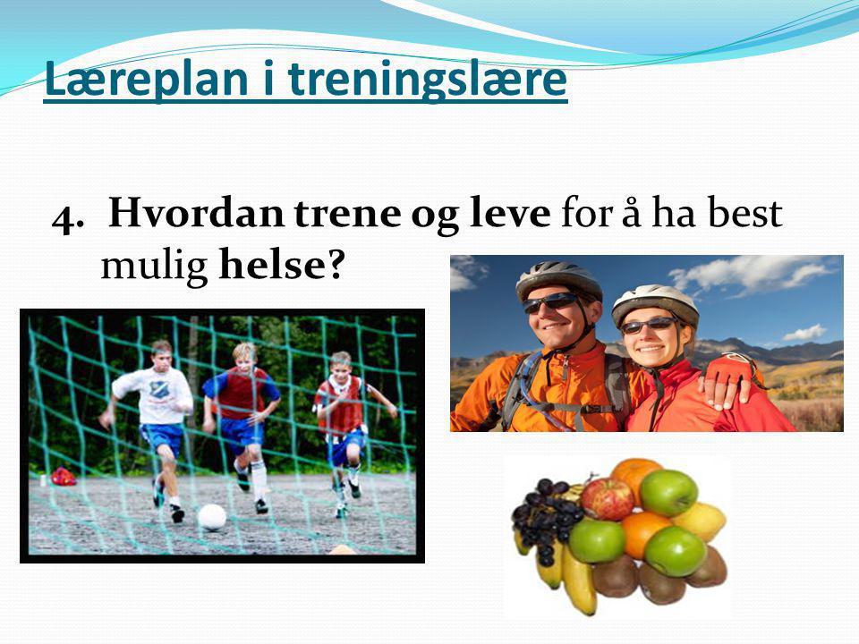 Læreplan i treningslære 4. Hvordan trene og leve for å ha best mulig helse?