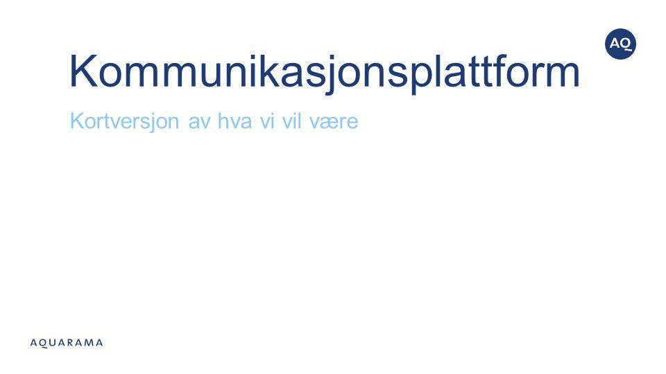 Kommunikasjonsplattform Kortversjon av hva vi vil være