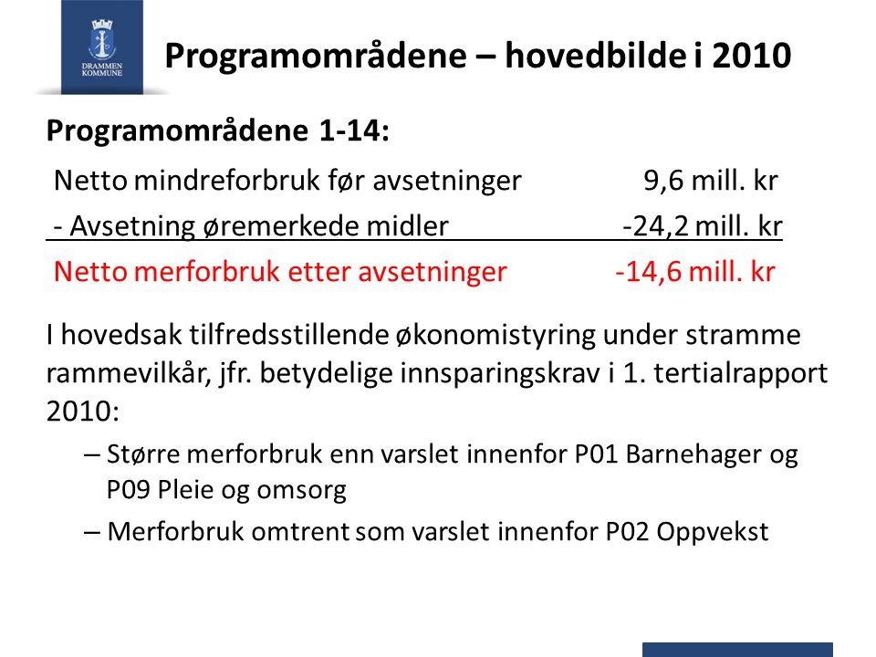 Programområdene – hovedbilde i 2010 Programområdene 1-14: Netto mindreforbruk før avsetninger 9,6 mill. kr - Avsetning øremerkede midler -24,2 mill. k