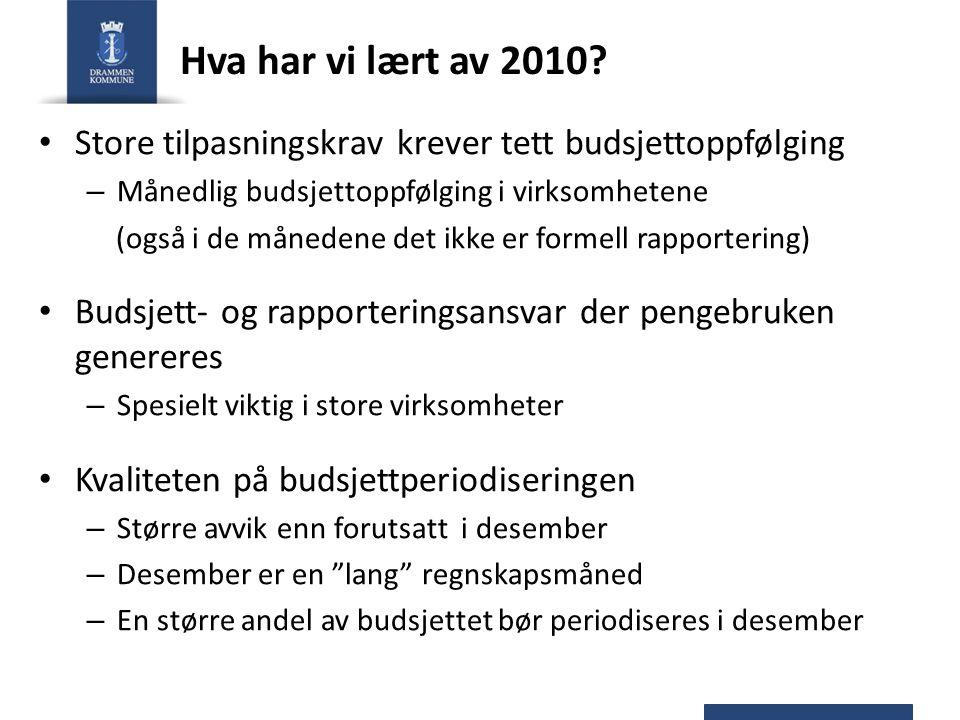 Hva har vi lært av 2010? Store tilpasningskrav krever tett budsjettoppfølging – Månedlig budsjettoppfølging i virksomhetene (også i de månedene det ik