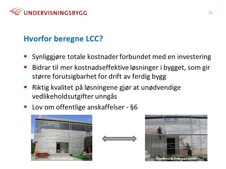 Hvorfor beregne LCC?  Synliggjøre totale kostnader forbundet med en investering  Bidrar til mer kostnadseffektive løsninger i bygget, som gir større