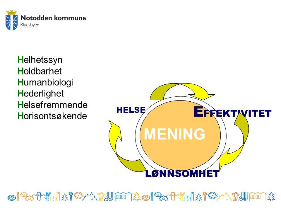 Helhetssyn Holdbarhet Humanbiologi Hederlighet Helsefremmende Horisontsøkende MENING HELSE E FFEKTIVITET LØNNSOMHET