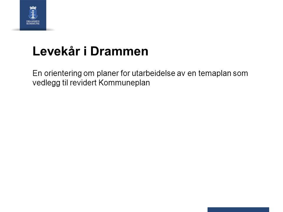 Levekår i Drammen En orientering om planer for utarbeidelse av en temaplan som vedlegg til revidert Kommuneplan