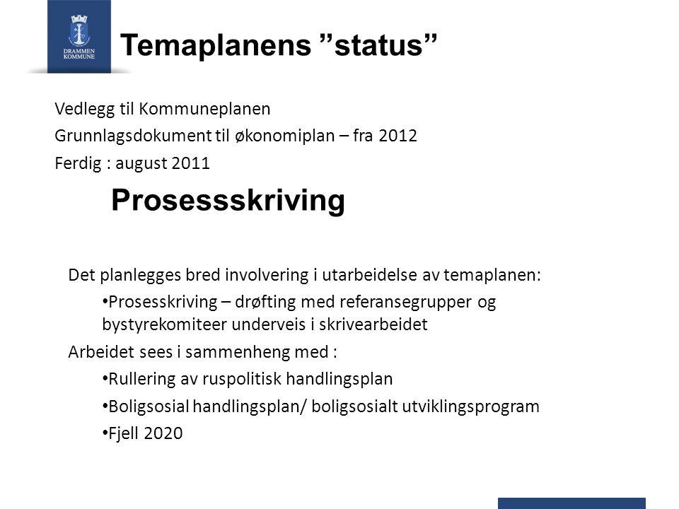 """Temaplanens """"status"""" Vedlegg til Kommuneplanen Grunnlagsdokument til økonomiplan – fra 2012 Ferdig : august 2011 Prosessskriving Det planlegges bred i"""