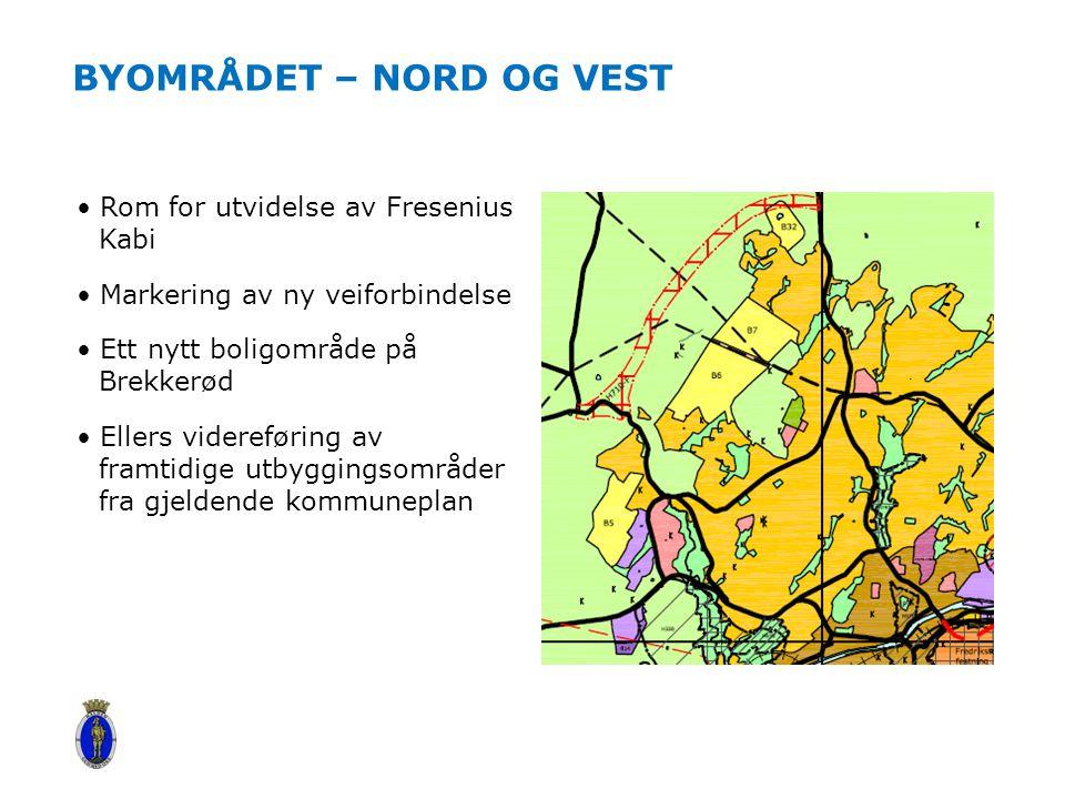 BYOMRÅDET – NORD OG VEST Rom for utvidelse av Fresenius Kabi Markering av ny veiforbindelse Ett nytt boligområde på Brekkerød Ellers videreføring av f