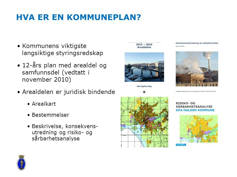 HVA ER EN KOMMUNEPLAN? Kommunens viktigste langsiktige styringsredskap 12-års plan med arealdel og samfunnsdel (vedtatt i november 2010) Arealdelen er
