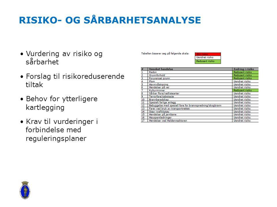 RISIKO- OG SÅRBARHETSANALYSE Vurdering av risiko og sårbarhet Forslag til risikoreduserende tiltak Behov for ytterligere kartlegging Krav til vurderinger i forbindelse med reguleringsplaner
