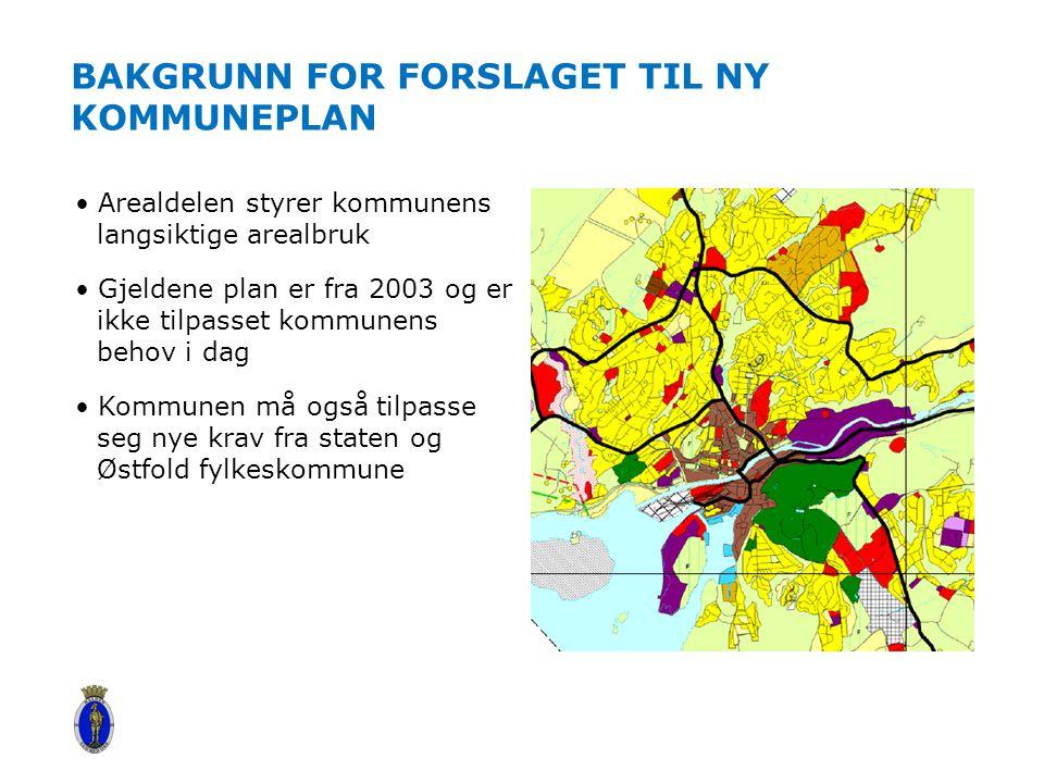 BAKGRUNN FOR FORSLAGET TIL NY KOMMUNEPLAN Arealdelen styrer kommunens langsiktige arealbruk Gjeldene plan er fra 2003 og er ikke tilpasset kommunens b