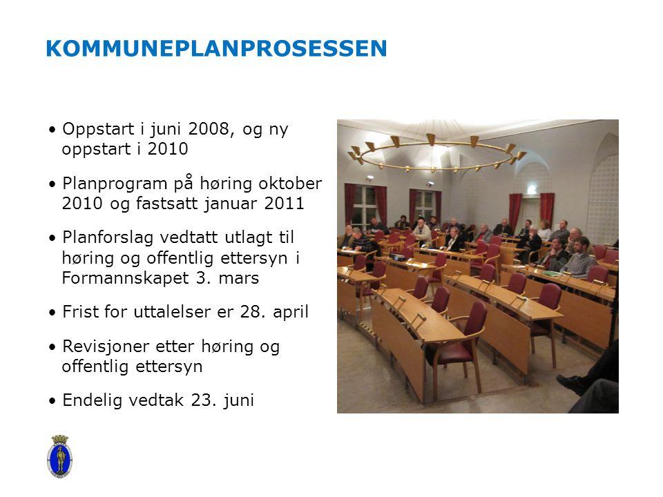 KOMMUNEPLANPROSESSEN Oppstart i juni 2008, og ny oppstart i 2010 Planprogram på høring oktober 2010 og fastsatt januar 2011 Planforslag vedtatt utlagt