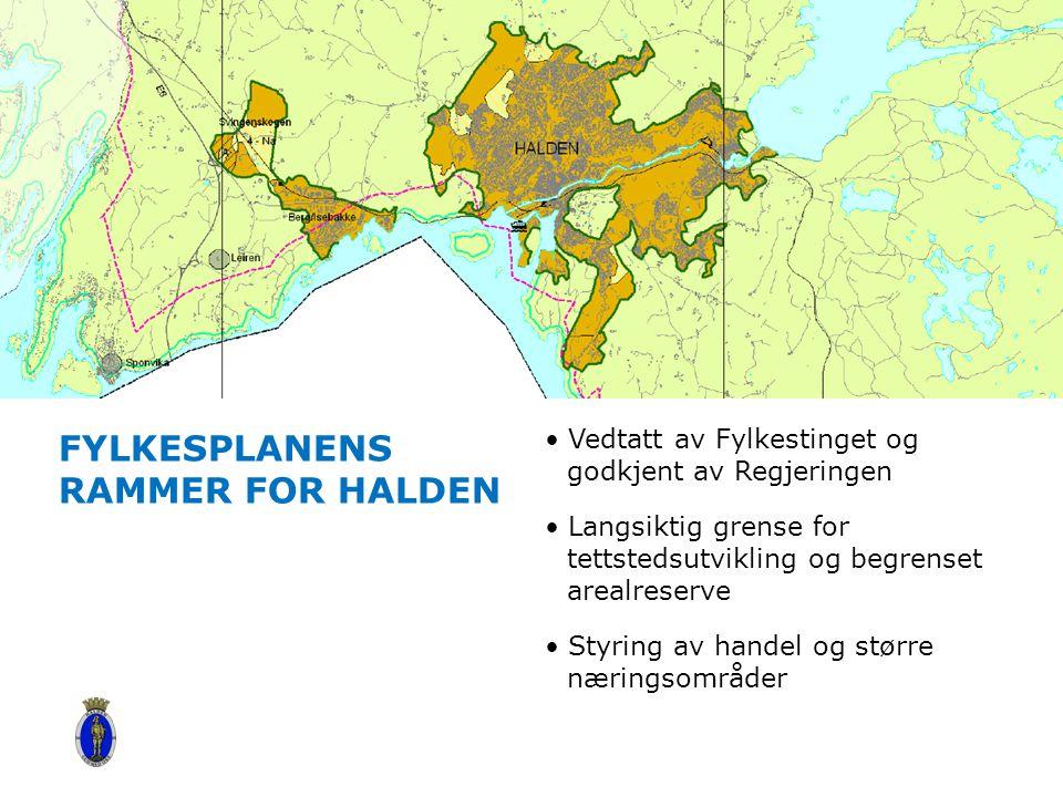 FYLKESPLANENS RAMMER FOR HALDEN Vedtatt av Fylkestinget og godkjent av Regjeringen Langsiktig grense for tettstedsutvikling og begrenset arealreserve Styring av handel og større næringsområder Content slide, with top bar image